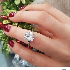 Custom made 3ct Cushion Solitaire Engagement Ring